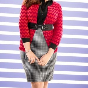 Lane Bryant Houndstooth Ponte Pencil Skirt